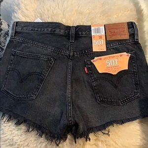 Levi's 501 Faded Black Denim Shorts